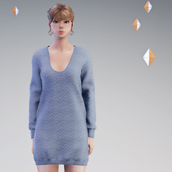 Quilted Sweater Dress Blue - HELLEN