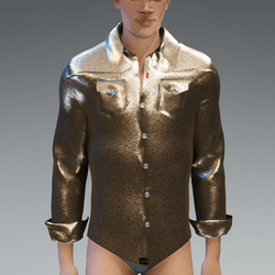 Male - Sparkling Gold Long Sleeves Shirt with folded Cuffs