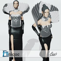 Lore Futuristic Metal Leather Gown