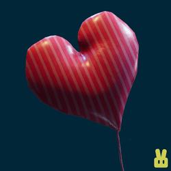 pink lines heart balloon