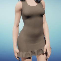 Tank Mini Dress w/ Skirt Ruffle Brown