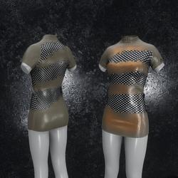 Dress Mila Latex Holes brown