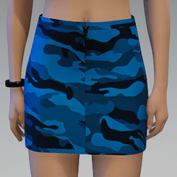 Blue Camouflage Skirt with Black Zipper