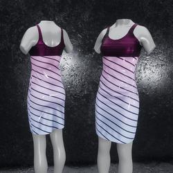 Dress Elly latex stripes purple blue
