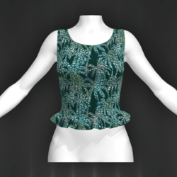 Laura top frill exotic green