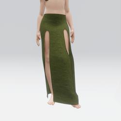 Simple Split Skirt Green (TM)