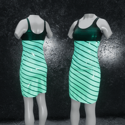 Dress Elly latex stripes turquoise