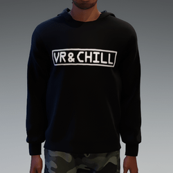 Black VR & chill Hooded Pullover for Men