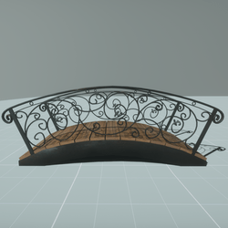 Iron and wood garden bridge