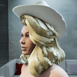 Cowgirl Hat for Big Hair tilted back (Female)