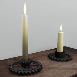 Candlestick set with flames