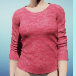 Women's Dynamic Long-Sleeved Shirt with a Pink Cotton Knit Texture
