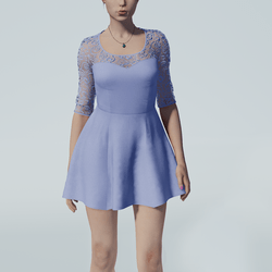 Lace Skater Dress (Cornflower Blue)
