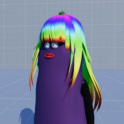 Aubergine Hair Long Rainbow