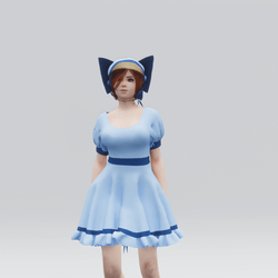 Old Fashioned Scottish Dress and Bonnet Set (Blue)