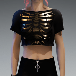 Crop Top Girlie with Black & Gold Shiny Skeleton Print