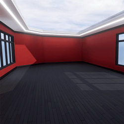 Skybox - Orange and Black - The Little Room With Ceiling Lamp