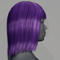 Hair - Middle Long with Fringe - Purple
