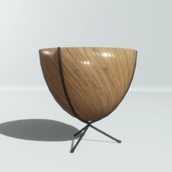 Tripod wooden and metal pot