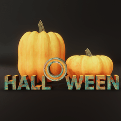 Halloween Pumpkins - Orange and Teal