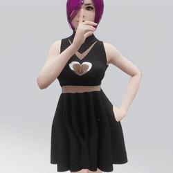Laced Heart Turtleneck Dress