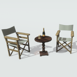 Table Chairs Champagne Candle