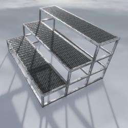 Metal Stairs  3 Step Wide O1