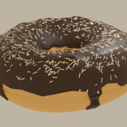 Chocolate Donut with Beige Sprinkles