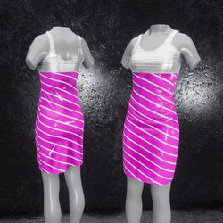 Dress Elly latex stripes pink silver