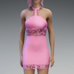 Pastel Pink Lace Partydress V2