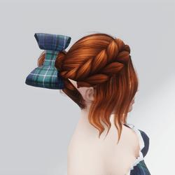 Green & Blue Tartan Hair Bow (For Kim Hair)