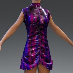 Latex Ruffle Party Dress Purple V2