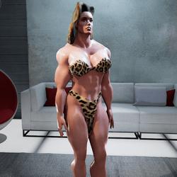 Muscular Jungle Cave girl