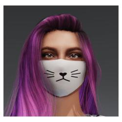 Plain Cat Mask - White