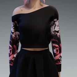 Black Pullover oneshoulderfree shorter with Roses3 Pattern Sleaves