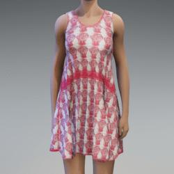 Sleeveless Dress - Pink and White