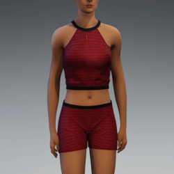 Cleo Short Set - Red and Black