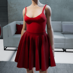 Suit. Body skirt-red dark