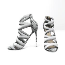 Strappy stiletto sandals for nicci - white snake