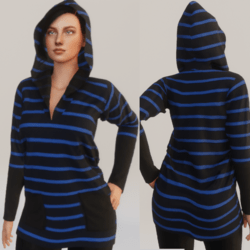 Stripped hoodie - Black and Blue