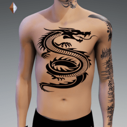 DRAGON 6 TATTOO CHEST MALE