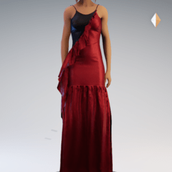 Spaghetti Gathered Gown - Red and Black Chiffon