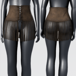 High Waist Fringe Suede Skirt - Dark Brown