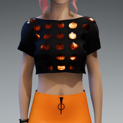 Crop Top with lil' metalic orange Pumpkins