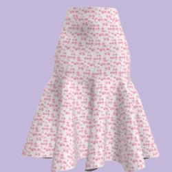 little pink flower skirt (mid length)