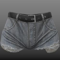 Default AV2 - Ripped Denim Shorts with pockets showing