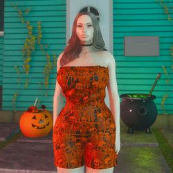 Orange Skeleton Romper