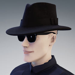 Secret Agent MIB Spy Black Fedora Hat