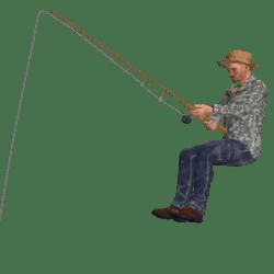 Angler Rudi sitzt
