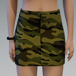 Camouflage Skirt with Black Zipper